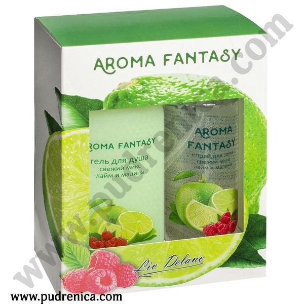 """Подарочный набор """"Aroma Fantasy. Лайм и малина"""" (спрей, гель для душа)"""